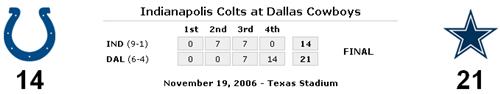 Dallas Cowboys 21 - Indianapolis Colts 14