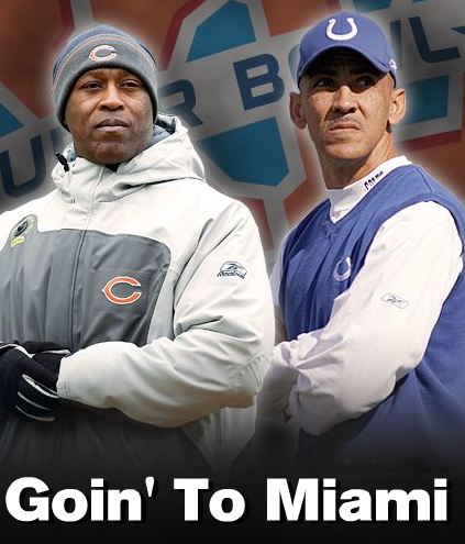 Tony Dungy and Lovie Smith 1st Black Super Bowl Coaches