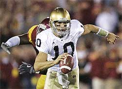 Brady Quinn Notre Dame Photo  Quarterback Brady Quinn was a four-year starter at Notre Dame.