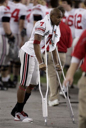 Ted Ginn Crutches Photo