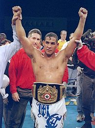 Hector Macho Camacho 1997 Photo Camacho celebrates after a bout against Sugar Ray Leonard in Atlantic City, New Jersey, on March 1, 1997. Camacho won the fight with a TKO in the fifth round.