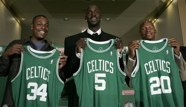 Kevin Garnett Traded to Boston for 7 Players Photo Newly-acquired Boston Celtics forward Kevin Garnett, center, stands with forward Paul Pierce, left, and guard Ray Allen during a news conference in Boston, Tuesday, July 31, 2007. The Celtics sent the Minnesota Timberwolves forwards Al Jefferson, Ryan Gomes and Gerald Green, guard Sebastian Telfair and center Theo Ratliff, two first-round draft picks and cash considerations in the trade for Garnett. (AP Photo/Steven Senne)
