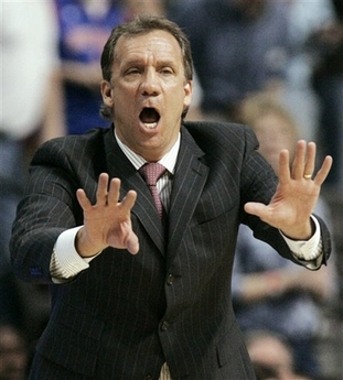 Flip Saunders Fired Photo In this April 8, 2008 file photo, Detroit Pistons coach Flip Saunders shouts instructions to his team in the second half of the Pistons' 98-94 loss to the New York Knicks in an NBA basketball game in Auburn Hills, Mich. The Detroit Pistons say Flip Saunders won't be back next season after leading the team to three straight appearances in the Eastern Conference finals. President of basketball operations Joe Dumars said Tuesday June 3, 2008 a change is necessary despite Saunders' successes. (AP Photo/Duane Burleson, File)